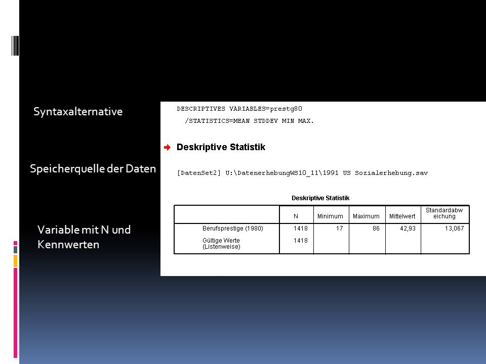 Syntaxalternative Speicherquelle der Daten Variable mit N und Kennwerten