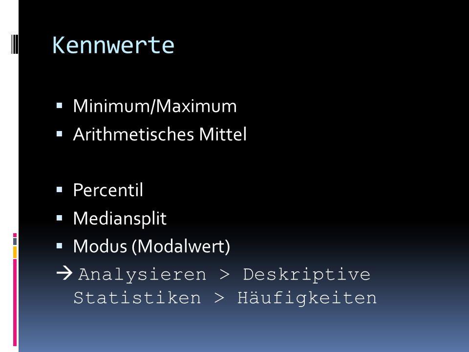 Kennwerte Minimum/Maximum Arithmetisches Mittel Percentil Mediansplit Modus (Modalwert) Analysieren > Deskriptive Statistiken > Häufigkeiten