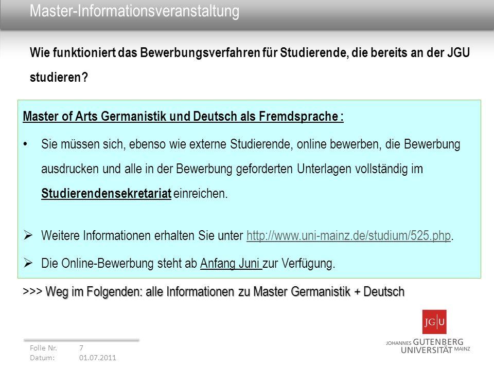 Master-Informationsveranstaltung Master of Arts Germanistik und Deutsch als Fremdsprache : Sie müssen sich, ebenso wie externe Studierende, online bew