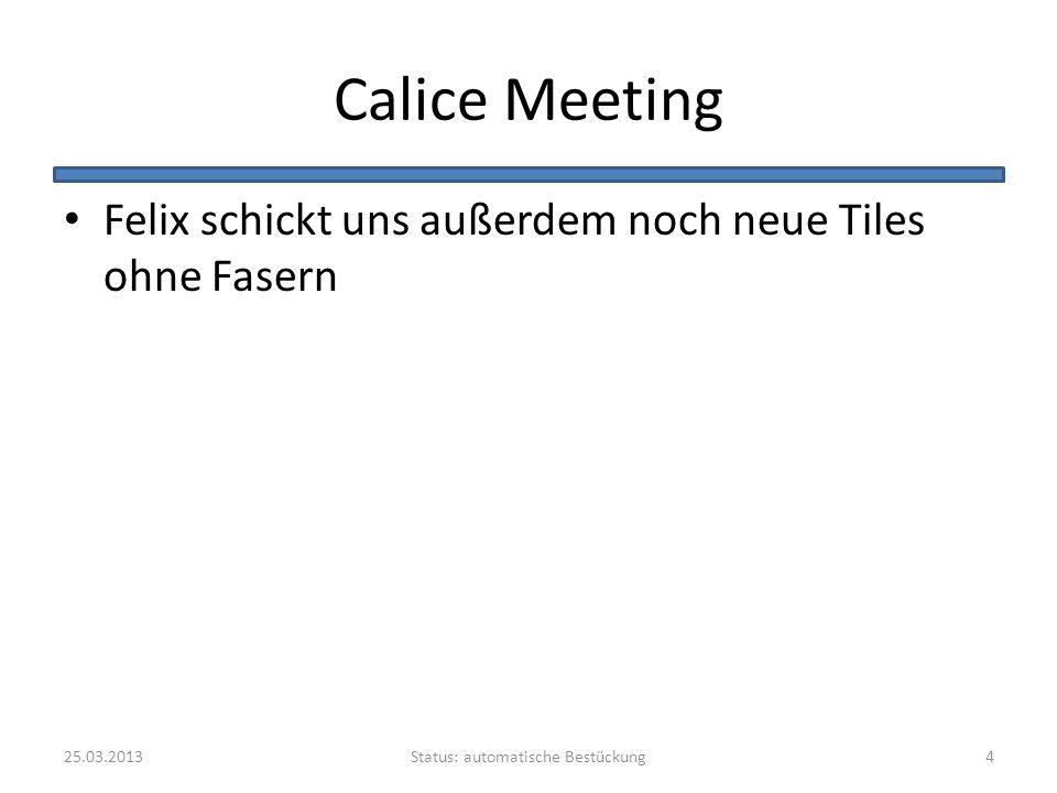 Calice Meeting Felix schickt uns außerdem noch neue Tiles ohne Fasern Status: automatische Bestückung25.03.20134
