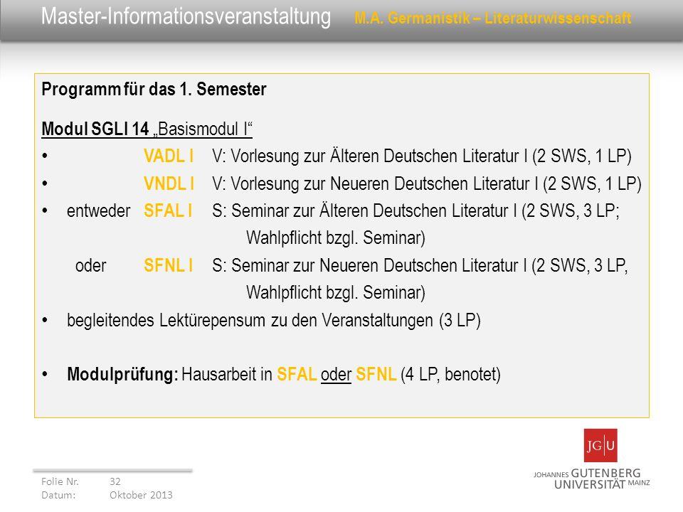 Master-Informationsveranstaltung M.A. Germanistik – Literaturwissenschaft Programm für das 1. Semester Modul SGLI 14 Basismodul I VADL I V: Vorlesung
