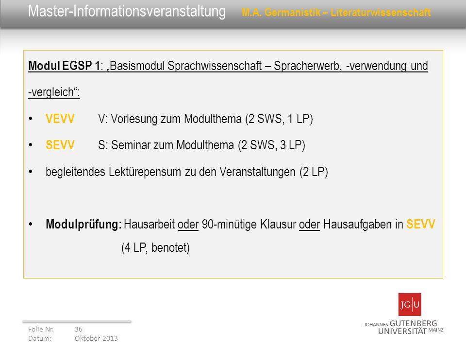Master-Informationsveranstaltung M.A. Germanistik – Literaturwissenschaft Modul EGSP 1 : Basismodul Sprachwissenschaft – Spracherwerb, -verwendung und