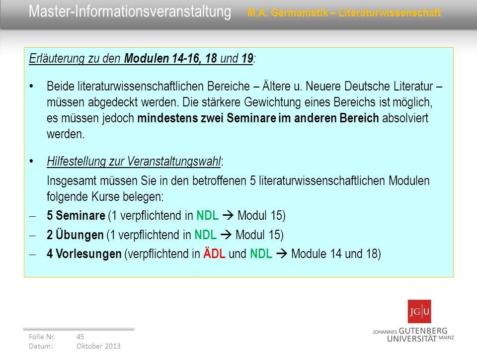 Master-Informationsveranstaltung M.A. Germanistik – Literaturwissenschaft Erläuterung zu den Modulen 14-16, 18 und 19 : Beide literaturwissenschaftlic