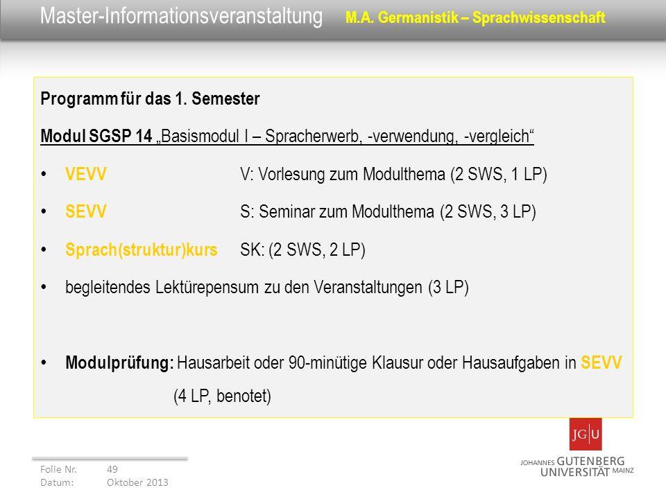 Master-Informationsveranstaltung M.A. Germanistik – Sprachwissenschaft Programm für das 1. Semester Modul SGSP 14 Basismodul I – Spracherwerb, -verwen