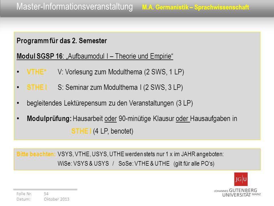 Master-Informationsveranstaltung M.A. Germanistik – Sprachwissenschaft Programm für das 2. Semester Modul SGSP 16 : Aufbaumodul I – Theorie und Empiri