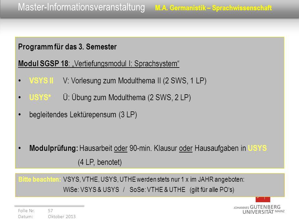 Master-Informationsveranstaltung M.A. Germanistik – Sprachwissenschaft Programm für das 3. Semester Modul SGSP 18 : Vertiefungsmodul I: Sprachsystem V