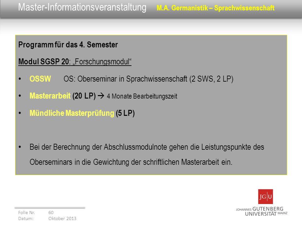 Master-Informationsveranstaltung M.A. Germanistik – Sprachwissenschaft Programm für das 4. Semester Modul SGSP 20 : Forschungsmodul OSSW OS: Obersemin