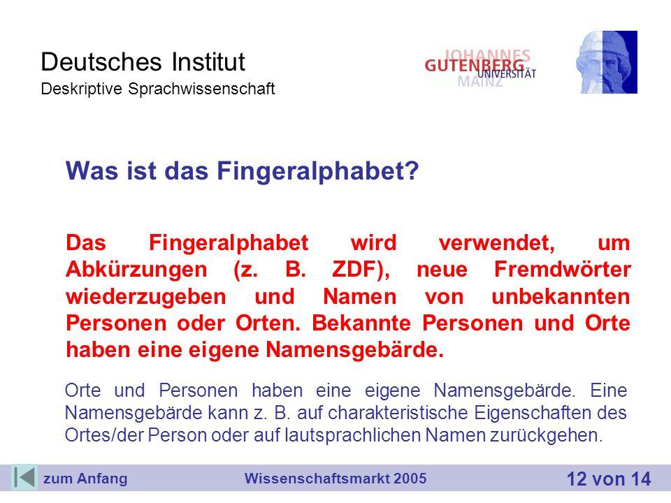 Deutsches Institut Deskriptive Sprachwissenschaft Was ist das Fingeralphabet? Das Fingeralphabet wird verwendet, um Abkürzungen (z. B. ZDF), neue Frem