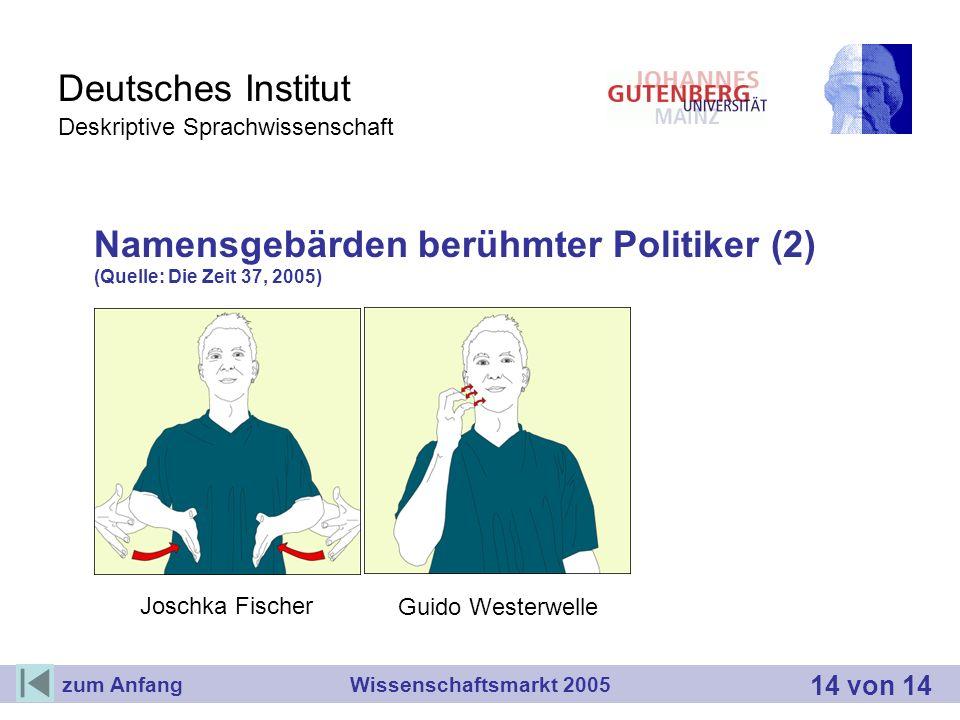 Deutsches Institut Deskriptive Sprachwissenschaft Namensgebärden berühmter Politiker (2) (Quelle: Die Zeit 37, 2005) Wissenschaftsmarkt 2005 14 von 14