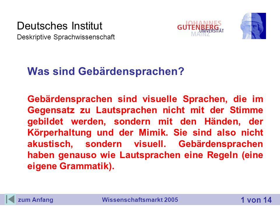 Deutsches Institut Deskriptive Sprachwissenschaft Was sind Gebärdensprachen? Gebärdensprachen sind visuelle Sprachen, die im Gegensatz zu Lautsprachen