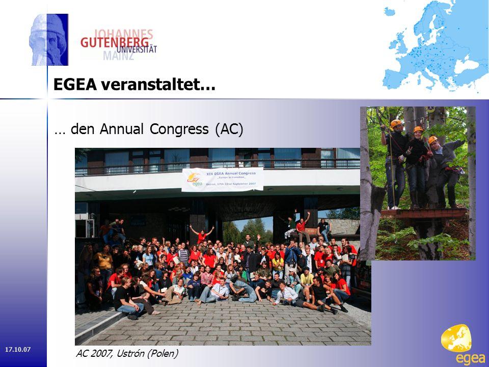 17.10.07 … regionale Kongresse in 4 Regionen EGEA veranstaltet… ERC 2007, Kiew (Ukraine)