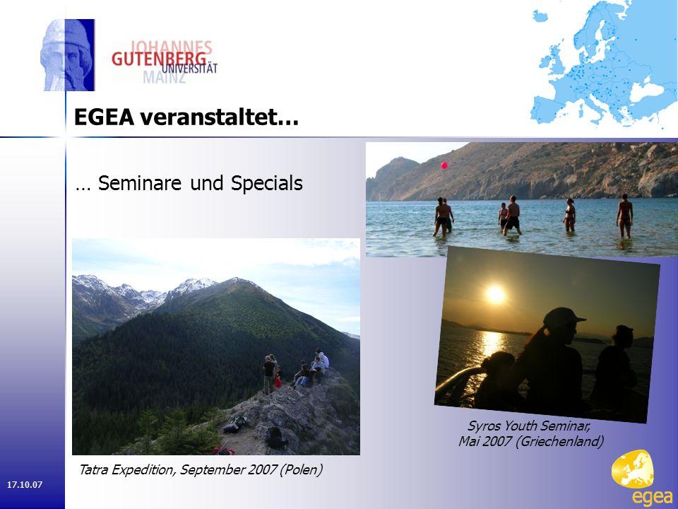 17.10.07 EGEA in Mainz Organisation des Germany Weekends 2007 Stromberg, Hunsrück