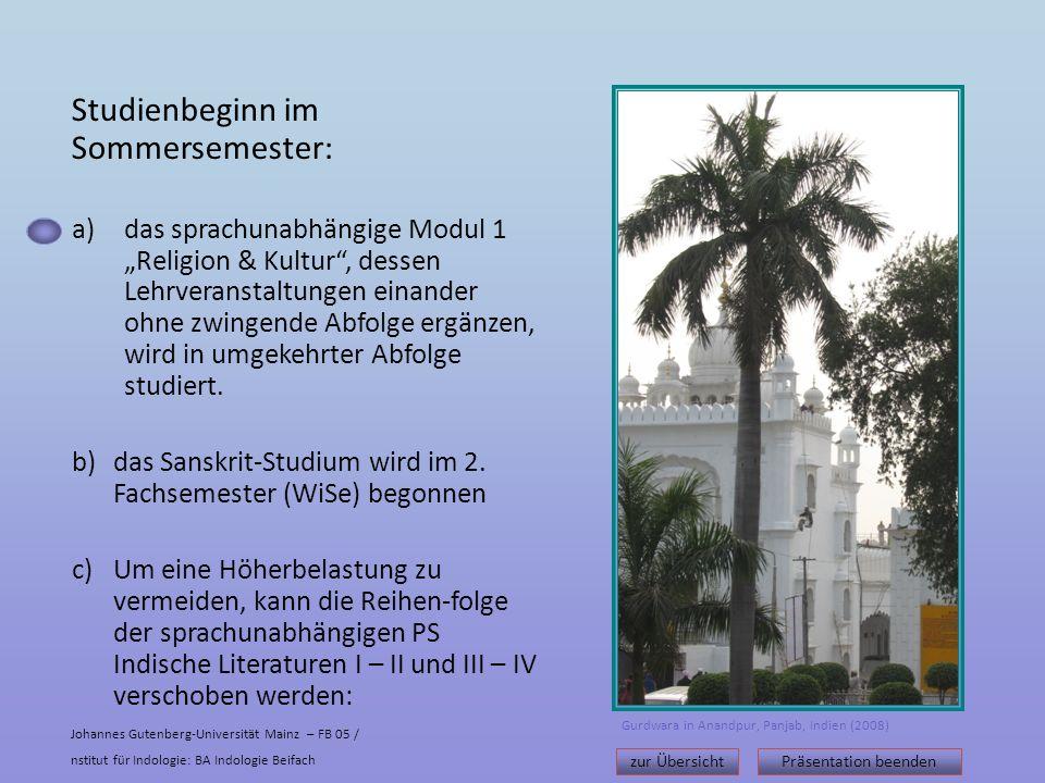 Studienbeginn im Sommersemester: a)das sprachunabhängige Modul 1 Religion & Kultur, dessen Lehrveranstaltungen einander ohne zwingende Abfolge ergänzen, wird in umgekehrter Abfolge studiert.
