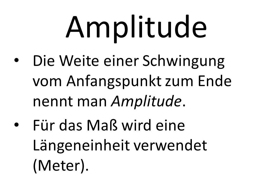Amplitude Die Weite einer Schwingung vom Anfangspunkt zum Ende nennt man Amplitude.