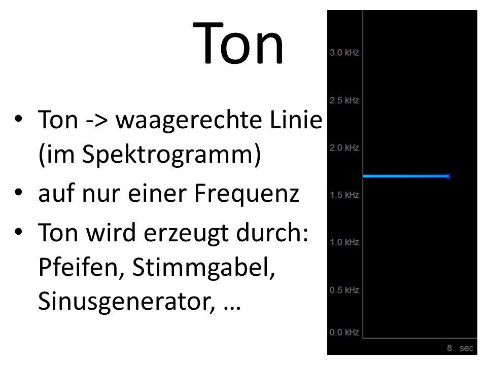 Ton Ton -> waagerechte Linie (im Spektrogramm) auf nur einer Frequenz Ton wird erzeugt durch: Pfeifen, Stimmgabel, Sinusgenerator, …