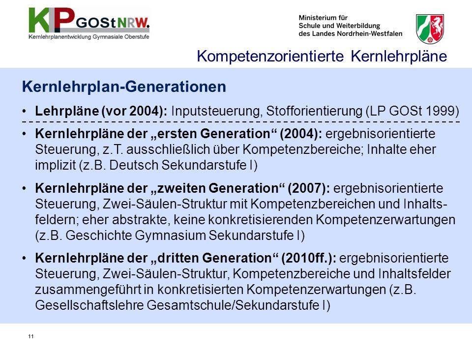 11 Kernlehrplan-Generationen Lehrpläne (vor 2004): Inputsteuerung, Stofforientierung (LP GOSt 1999) Kernlehrpläne der ersten Generation (2004): ergebn