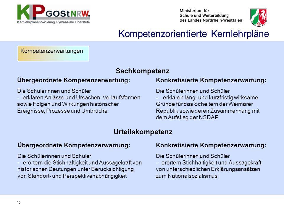 Sachkompetenz Übergeordnete Kompetenzerwartung: Die Schülerinnen und Schüler -erklären Anlässe und Ursachen, Verlaufsformen sowie Folgen und Wirkungen