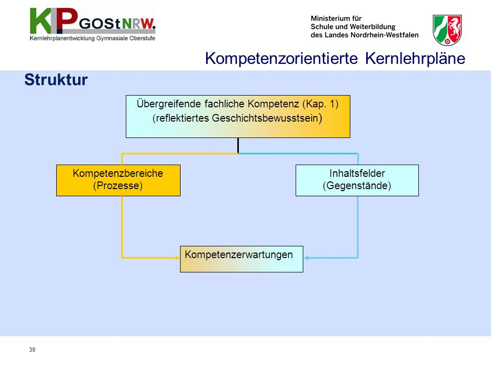 Struktur Kompetenzerwartungen Kompetenzbereiche (Prozesse) Übergreifende fachliche Kompetenz (Kap. 1) (reflektiertes Geschichtsbewusstsein ) Inhaltsfe