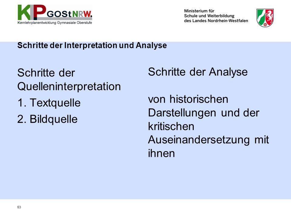 Schritte der Interpretation und Analyse Schritte der Quelleninterpretation 1. Textquelle 2. Bildquelle Schritte der Analyse von historischen Darstellu