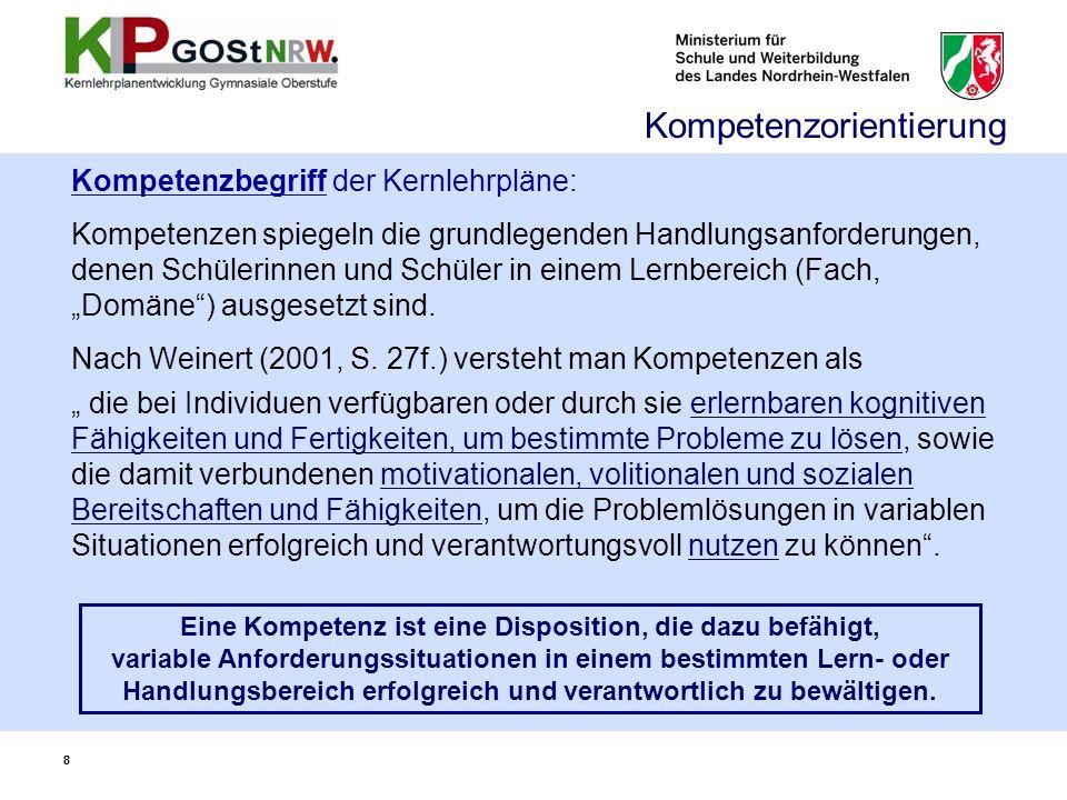 Struktur Kompetenzerwartungen Kompetenzbereiche (Prozesse) Übergreifende fachliche Kompetenz (Kap.