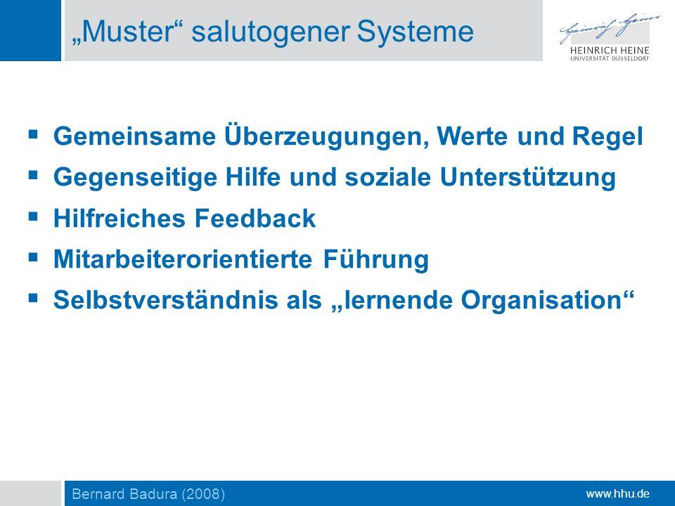 www.hhu.de Muster salutogener Systeme Gemeinsame Überzeugungen, Werte und Regel Gegenseitige Hilfe und soziale Unterstützung Hilfreiches Feedback Mita