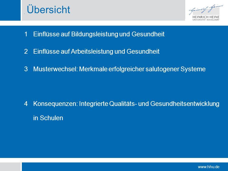 www.hhu.de Agenda Einflüsse auf Bildungsleistung und Gesundheit Einflüsse auf Arbeitsleistung und Gesundheit Musterwechsel: Merkmale erfolgreicher sal