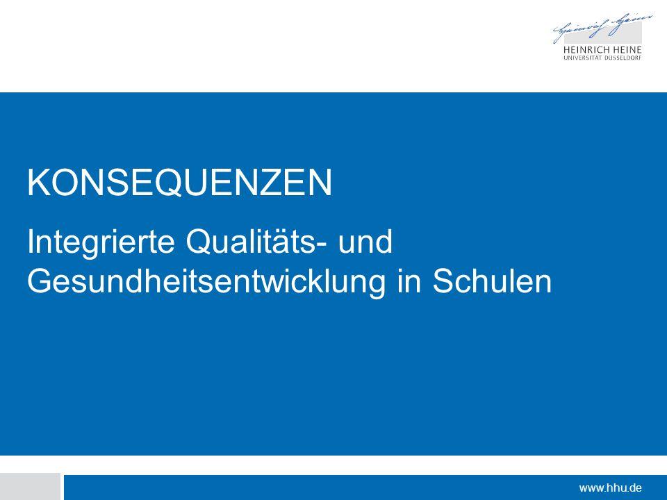www.hhu.de KONSEQUENZEN Integrierte Qualitäts- und Gesundheitsentwicklung in Schulen