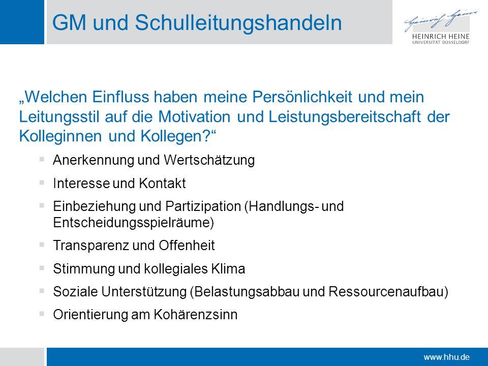 www.hhu.de GM und Schulleitungshandeln Welchen Einfluss haben meine Persönlichkeit und mein Leitungsstil auf die Motivation und Leistungsbereitschaft