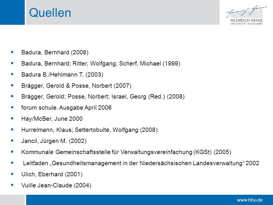 www.hhu.de Quellen Badura, Bernhard (2008) Badura, Bernhard; Ritter, Wolfgang; Scherf, Michael (1999) Badura B./Hehlmann T. (2003) Brägger, Gerold & P