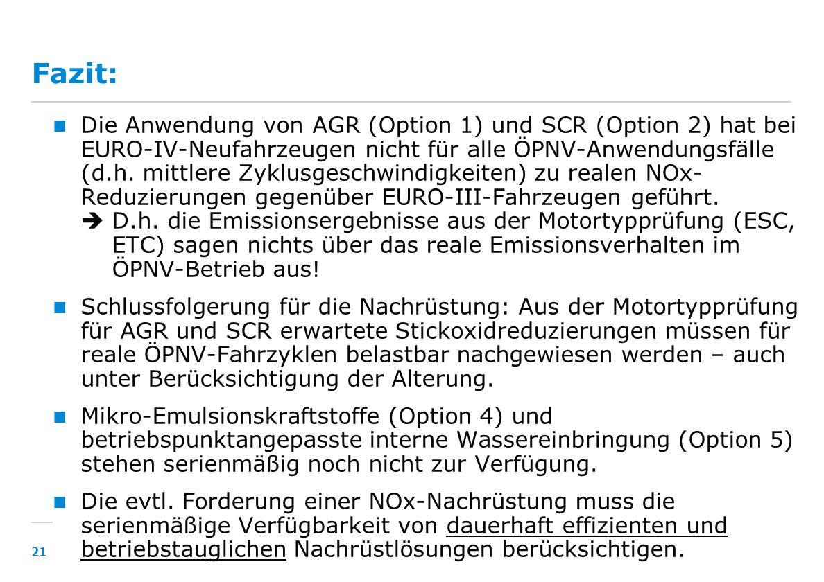 Fazit: Die Anwendung von AGR (Option 1) und SCR (Option 2) hat bei EURO-IV-Neufahrzeugen nicht für alle ÖPNV-Anwendungsfälle (d.h. mittlere Zyklusgesc