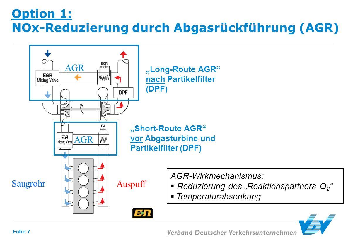 Folie 7 Option 1: NOx-Reduzierung durch Abgasrückführung (AGR) Long-Route AGR nach Partikelfilter (DPF) Saugrohr Auspuff AGR Short-Route AGR vor Abgas