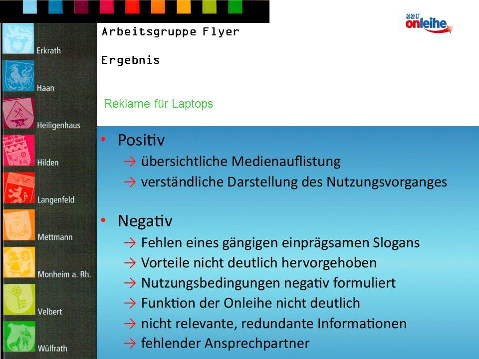 Arbeitsgruppe Flyer Ergebnis Reklame für Laptops
