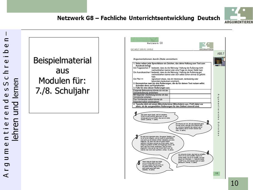 A r g u m e n t i e r e n d e s S c h r e i b e n – lehren und lernen Netzwerk G8 – Fachliche Unterrichtsentwicklung Deutsch 10 Beispielmaterialaus Mo