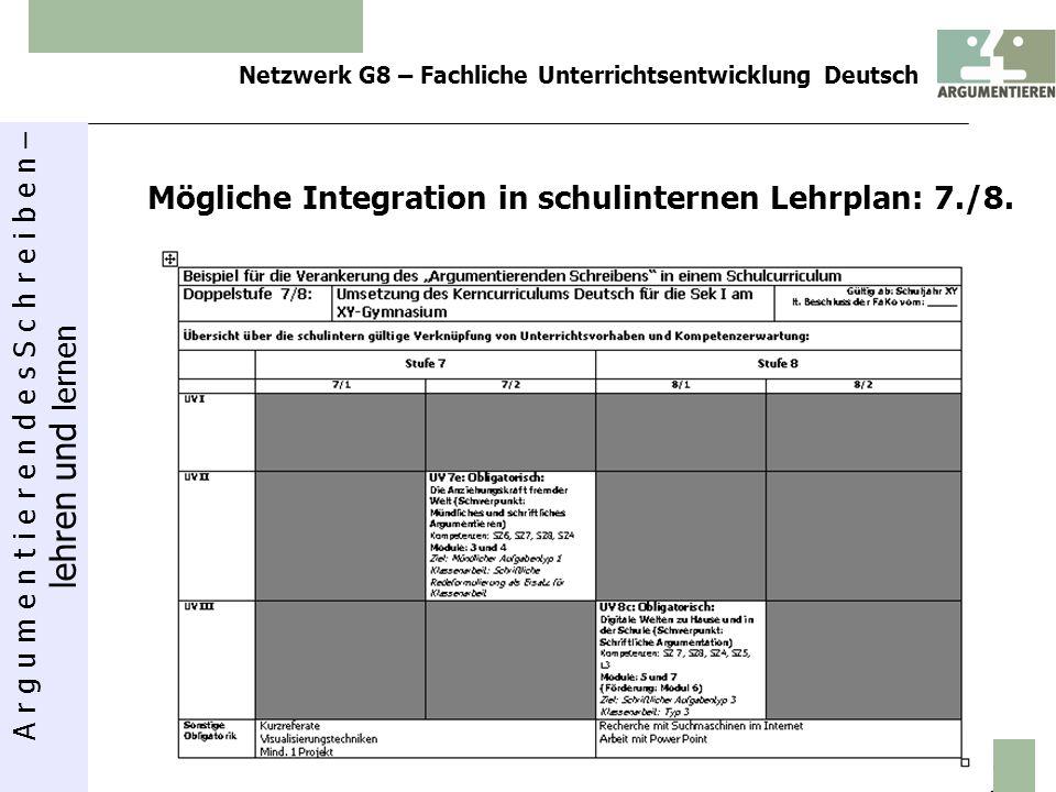 A r g u m e n t i e r e n d e s S c h r e i b e n – lehren und lernen Netzwerk G8 – Fachliche Unterrichtsentwicklung Deutsch 13 Mögliche Integration i