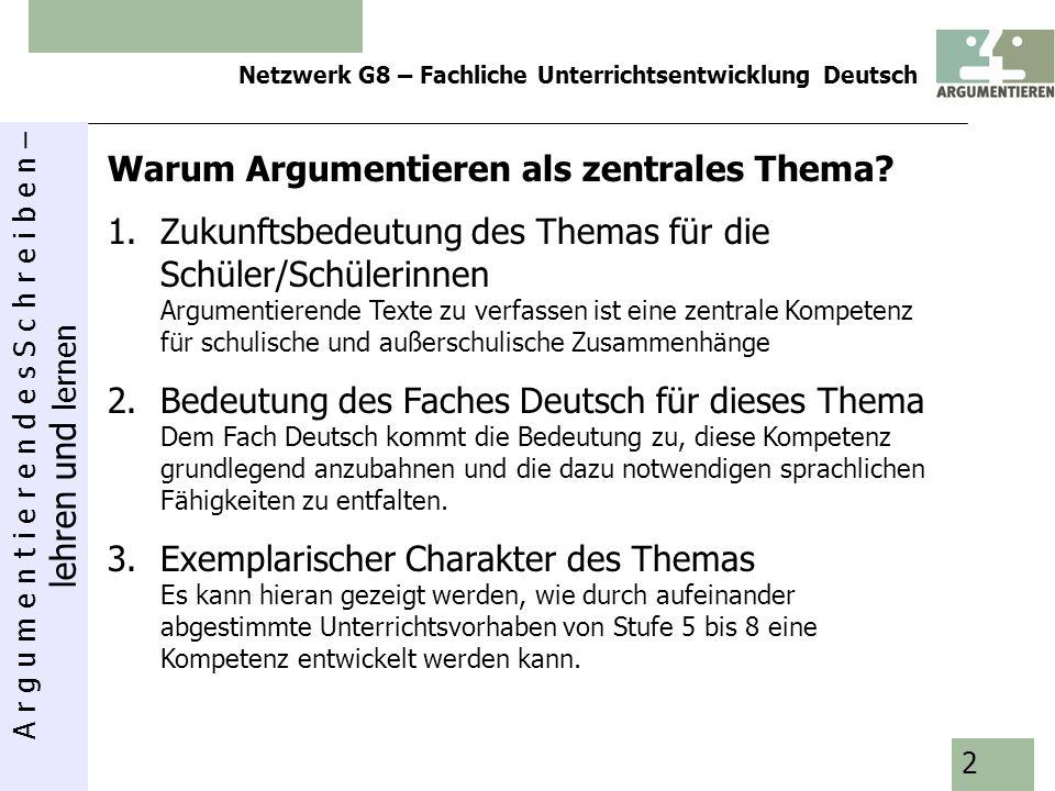 A r g u m e n t i e r e n d e s S c h r e i b e n – lehren und lernen Netzwerk G8 – Fachliche Unterrichtsentwicklung Deutsch 2 Warum Argumentieren als