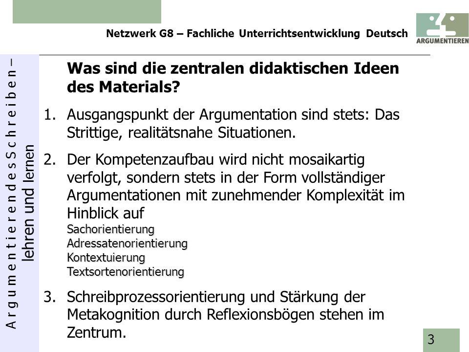 A r g u m e n t i e r e n d e s S c h r e i b e n – lehren und lernen Netzwerk G8 – Fachliche Unterrichtsentwicklung Deutsch 4 StufeNr.ModulSchwerpunkte 5/61Was ist die beste Sitzordnung für uns.