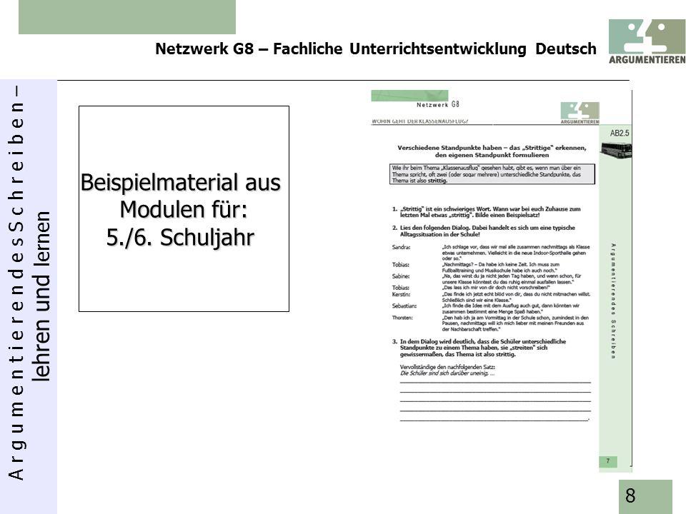 A r g u m e n t i e r e n d e s S c h r e i b e n – lehren und lernen Netzwerk G8 – Fachliche Unterrichtsentwicklung Deutsch 9 Beispielmaterialaus Modulen für 7./8.