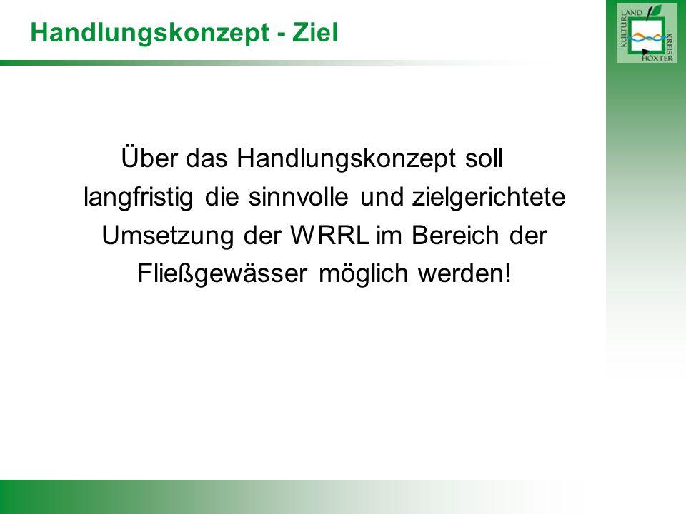 Handlungskonzept - Ziel Über das Handlungskonzept soll langfristig die sinnvolle und zielgerichtete Umsetzung der WRRL im Bereich der Fließgewässer mö