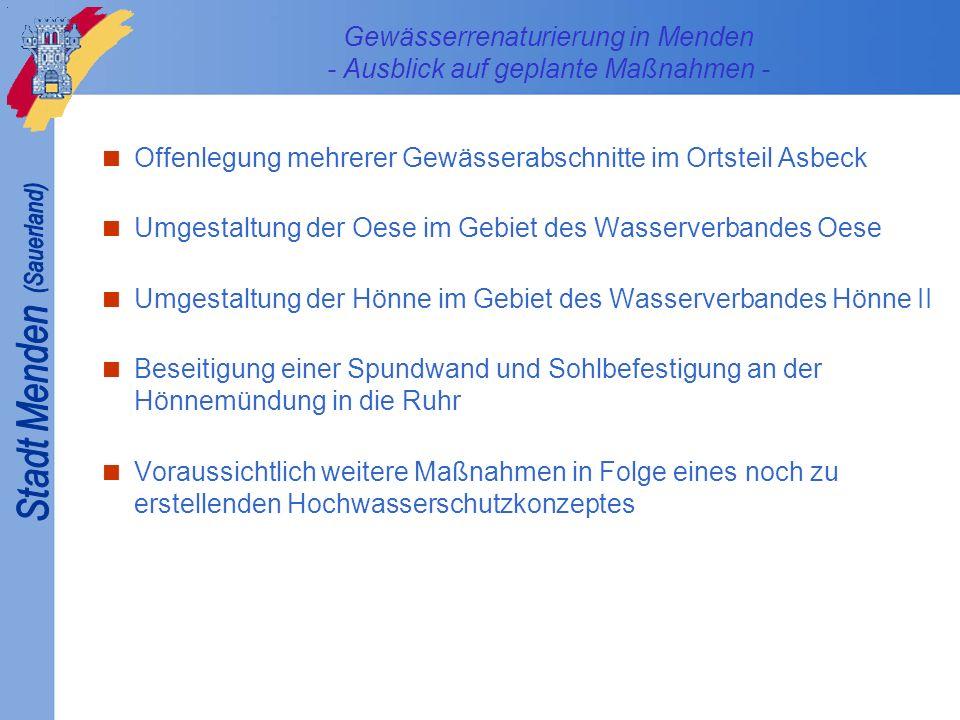 Gewässerrenaturierung in Menden - Ausblick auf geplante Maßnahmen - Offenlegung mehrerer Gewässerabschnitte im Ortsteil Asbeck Umgestaltung der Oese i
