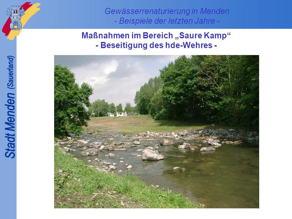 Gewässerrenaturierung in Menden - Beispiele der letzten Jahre - Maßnahmen im Innenstadtbereich - Profilaufweitung am ehemaligen KME-Walzwerk - November 2001August 2007