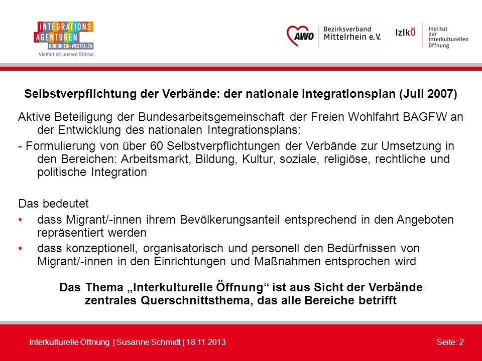 Interkulturelle Öffnung | Susanne Schmidt | 18.11.2013Seite: 2 Selbstverpflichtung der Verbände: der nationale Integrationsplan (Juli 2007) Aktive Bet