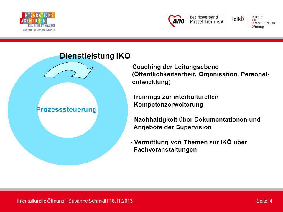 Interkulturelle Öffnung | Susanne Schmidt | 18.11.2013Seite: 4 Dienstleistung IKÖ Prozesssteuerung -Coaching der Leitungsebene (Öffentlichkeitsarbeit,