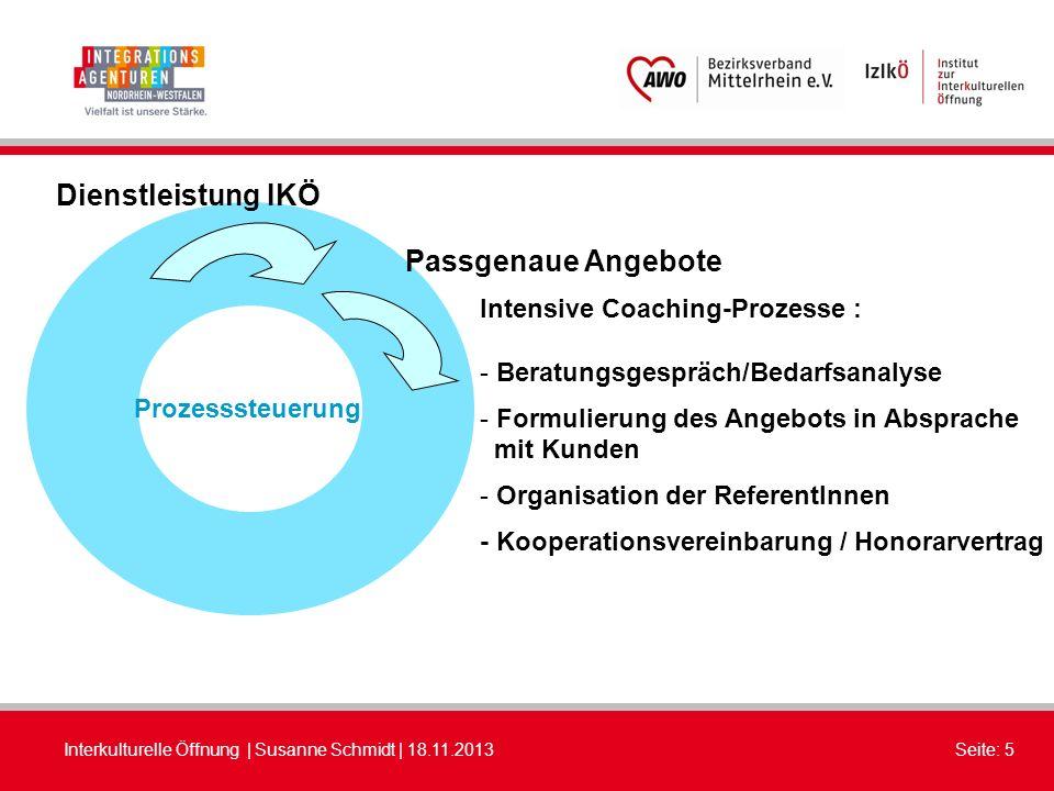 Interkulturelle Öffnung | Susanne Schmidt | 18.11.2013Seite: 5 Dienstleistung IKÖ Prozesssteuerung Intensive Coaching-Prozesse : - Beratungsgespräch/B