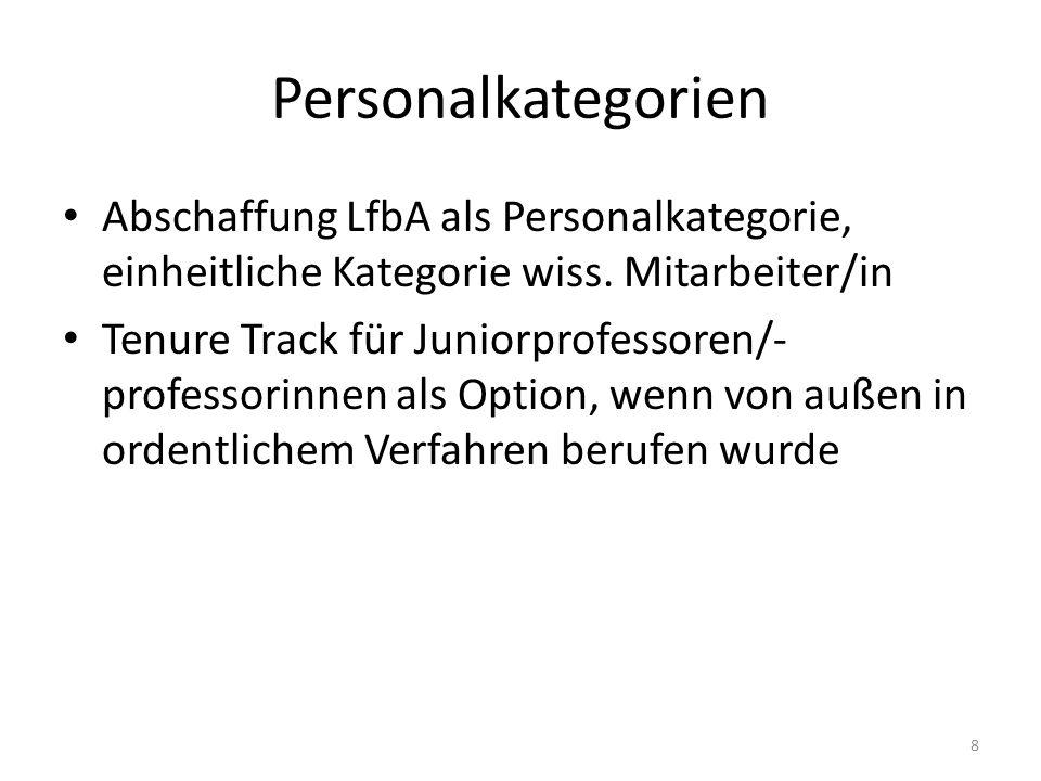 Personalkategorien Abschaffung LfbA als Personalkategorie, einheitliche Kategorie wiss.