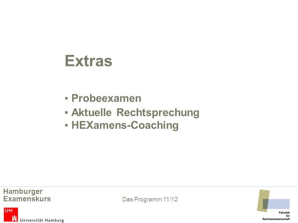 Extras HEXamens-Coaching Lerntechniken, Zeit- und Stressmanagement in der Examensvorbereitung (beschränkte Teilnehmerzahl, anmeldepflichtig, Abschlusszertifikat).