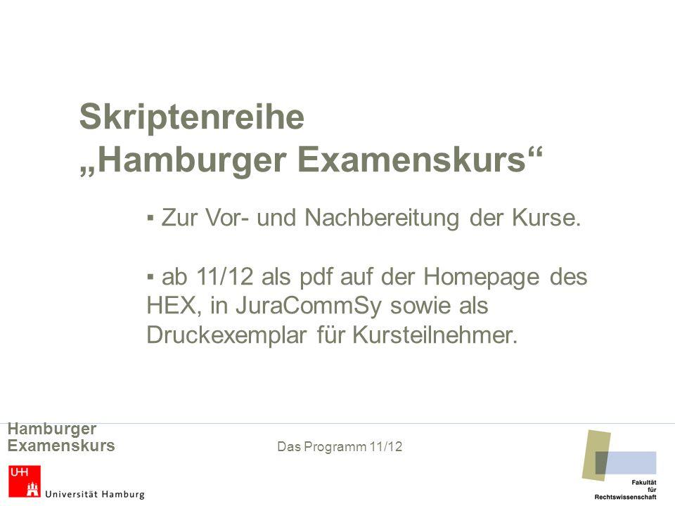Skriptenreihe Hamburger Examenskurs Zur Vor- und Nachbereitung der Kurse.