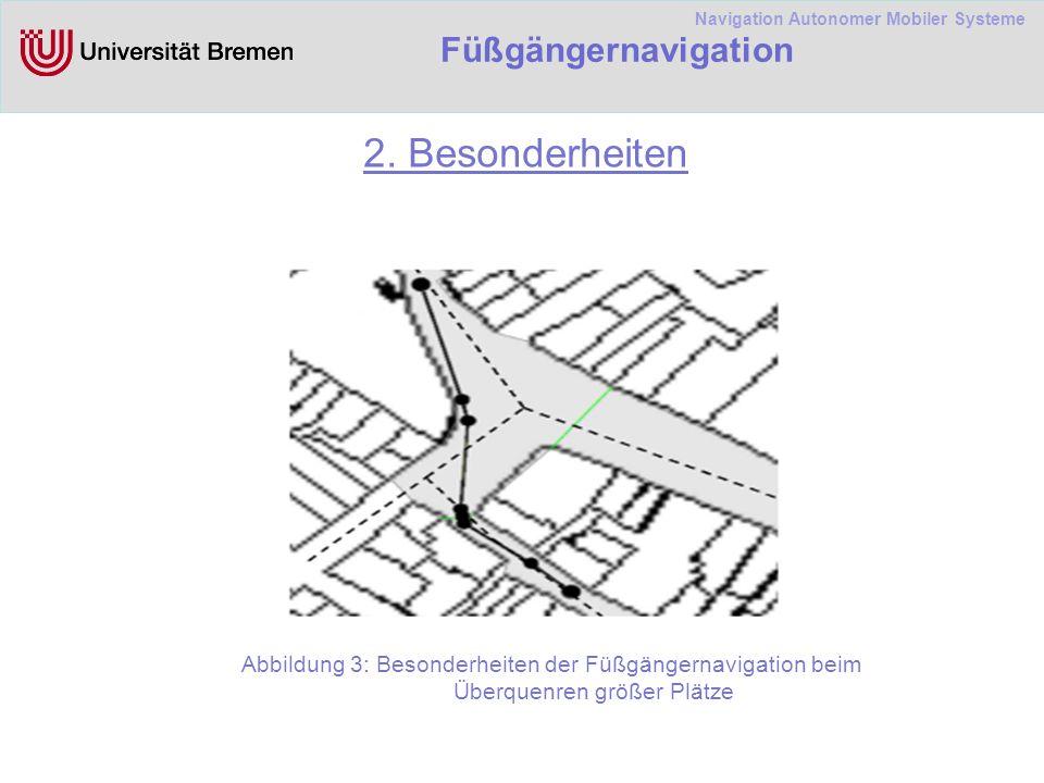 Navigation Autonomer Mobiler Systeme Füßgängernavigation 4.2 Algorithmen für Polygonen und Graphen Graphbasierte informierte Suche: Graphbasierter Algorithmus, der zielgerichtet sucht und immer den kürzesten Weg findet Ziel: aus vorhandenen polygonbasierten Umgebungsmodellen die Wegenetz-Graphen zu erzeugen Zu finden einen schönen Weg muss der Wegenetz- Graph möglichst detailiert sein.