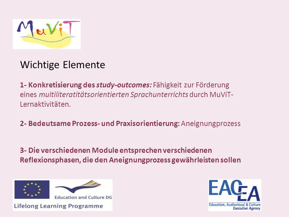Wichtige Elemente 1- Konkretisierung des study-outcomes: Fähigkeit zur Förderung eines multiliteratitätsorientierten Sprachunterrichts durch MuViT- Lernaktivitäten.