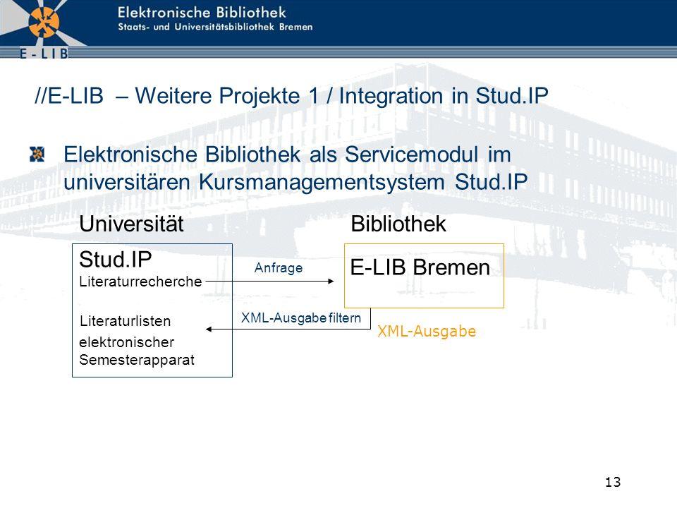 13 Elektronische Bibliothek als Servicemodul im universitären Kursmanagementsystem Stud.IP Literaturlisten XML-Ausgabe filtern E-LIB Bremen Stud.IP Li