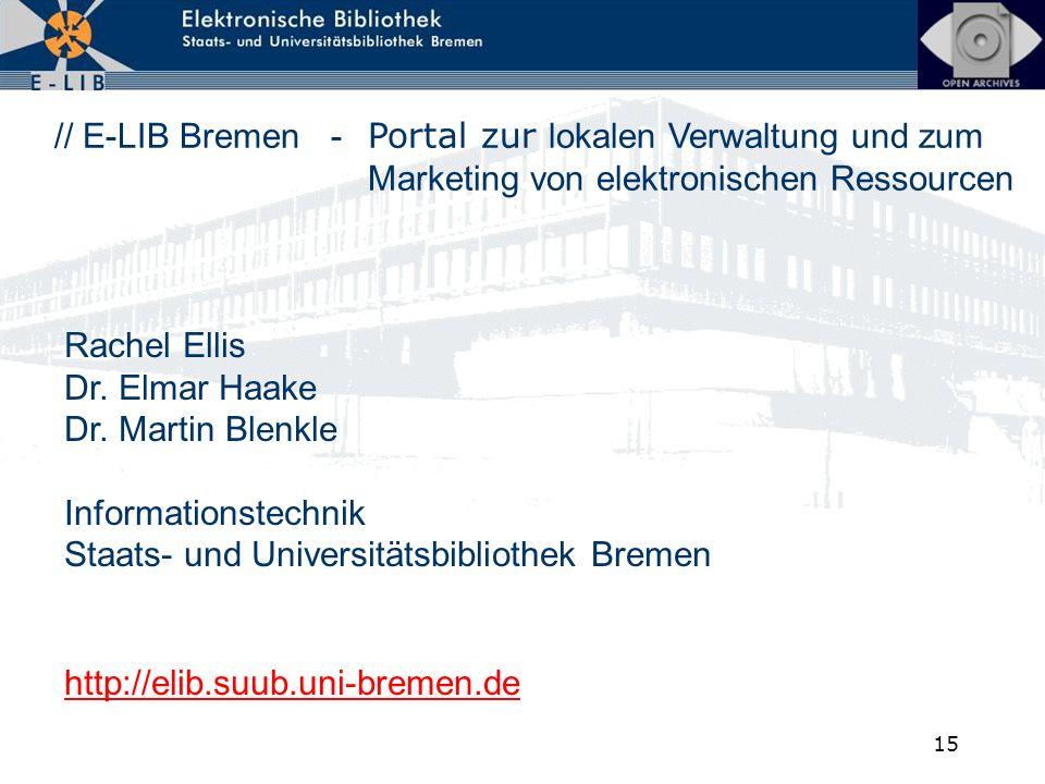 15 // E-LIB Bremen - Portal zur lokalen Verwaltung und zum Marketing von elektronischen Ressourcen http://elib.suub.uni-bremen.de Rachel Ellis Dr. Elm